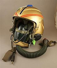 USN APH-5 PILOTS HELMET WITH CUSTOM MARKINGS AND OXYGEN MASK