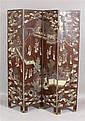 ORIENTAL CARVED AND PAINTED WOOD 4 SECTION DOUBLE SIDED SCREEN