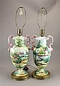 PAIR SIGNED HANDPAINTED ITALIAN POTTERY TABLE LAMPS WITH FIGURAL LANDSCAPES