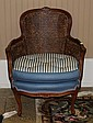 WALNUT DOUBLE CANED ARMCHAIR WITH BLUE STRIPED UPHOLSTERY SEAT