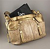B. MAKOWSKY EMBOSSED BROWN REPTILE PATTERN PURSE WITH BRONZE TRIM AND ORIGINAL TAGS
