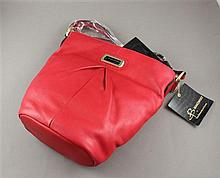 B. MAKOWSKY RED LEATHER BUCKET PURSE WITH ORIGINAL TAGS