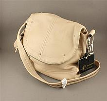 B. MAKOWSKY CREAM LEATHER PURSE WITH FLAP CLOSURE AND ORIGINAL TAGS