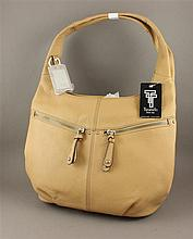 TIGNANELLO BEIGE LEATHER PURSE WITH CONTINUOUS DOUBLE HANDLE AND ORIGINAL TAG
