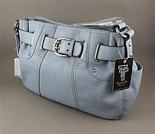 TIGNANELLO SKY BLUE LEATHER PURSE WITH BELTED CLOSURE