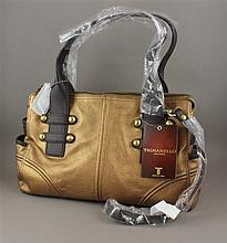 TIGNANELLO BRONZE AND BROWN STUDDED LEATHER PURSE WITH ZIP TOP DOUBLE HANDLES AND STRAP WITH ORIGINAL TAGS - 8