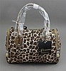 B. MAKOWSKY CHEETAH PATTERN PURSE ZIP CLOSURE WITH DOUBLE BRONZE LEATHER HANDLES, ORIGINAL TAG