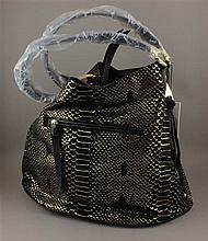 AIMEE KESTENBERG BLACK AND GOLD SUEDE REPTILE PATTERN WITH ORIGINAL TAG