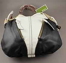 ORYANY WHITE, BLACK, BROWN LEATHER PURSE WITH ORIGINAL TAG
