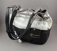 B. MAKOWSKY TRI-COLOR LEATHER PURSE BLACK, WHITE, AND SILVER