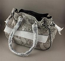 JUDITH RIPKA GRAY EMBOSSED LEATHER REPTILE PATTERN PURSE