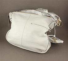 B. MAKOWSKY WHITE PEBBLE LEATHER COVERTIBLE HOBO WITH ORIGINAL TAGS