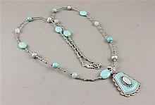 CAROLYN POLLACK AMAZONITE, PEARL AND STERLING NECKLACE WITH ILLUSION ENHANCER