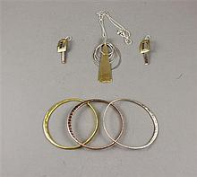 LOT ROBERT LEE MORRIS STERLING SILVER, BRASS AND COPPER JEWELRY INCLUDING BANGLES, NECKLACE AND EARRINGS