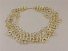 14K YELLOW GOLD 4-STRAND HOOP LINK NECKLACE