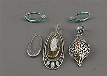 LOT CAROLYN POLLACK STERLING SILVER ENHACERS INCLUDING INTERCHANGABLE AND HOOP EARRINGS