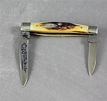 1970'S CASE POCKET KNIVE 5233 SSP STAG HANDLE BLUE FLAME ON BLADE, NEVER USED