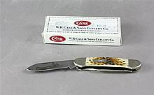 2000 CASE KNIFE CANOE 62131CV AMBER HANDLE WITH ORIGINAL BOX, NEVER USED