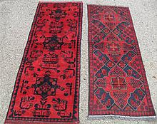 TWO AFGHANI TURKOMAN RUNNERS, 1.8 X 4.7 AND 1.9 X 5