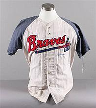 SIGNED MAJOR LEAGUE BASEBALL SHIRT BRAVES HANK AARON