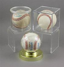 (3) SIGNED BASEBALLS IN CASES, RICKY LEDEC, DON MATTINGLY AND ATLANTA BRAVES TEAM MEMBERS