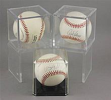 (3) SIGNED BASEBALLS IN CASES, AL KALINE, STEVE CARLTON, BILLY ? 2001 METS