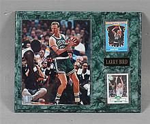 SIGNED LARRY BIRD CELTICS PLAQUE WITH PHOTO AND (2) CARDS