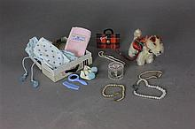 BAG OF GINNY ACCESSORIES INCLUDING STEIFF PUP, SUITCASE WITH CLOTHING AND ACCESSORIES, PURSE AND JEWELRY