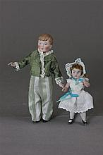 2 ALL BISQUE STATIONARY NECK DOLLS