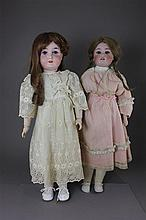 2 GERMAN BISQUE HEAD DOLLS INCLUDING 26
