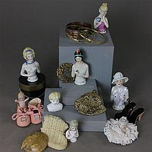 DOLL/CHILD ITEMS INCLUDING (6) HALF DOLLS, KEWPIE BUTTON HOLE, BLONDE CHINA HEAD, 3 BRACELETS, DOLL SHOES, PURSE, PIN