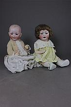 PAIR BISQUE SOCKET HEAD CHARACTER BABIES INCLUDING 15