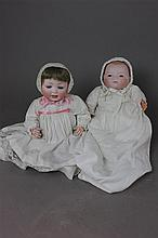 2 GERMAN BISQUE HEAD BABIES INCLUDING 10