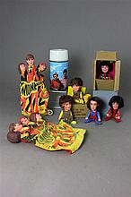 BOX LOT MONKEES MEMORABILIA INCLUDING DOLLS AND PUPPET