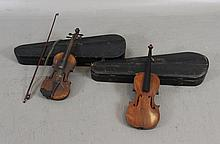 (2) VIOLINS IN HARD CASES, ONE BODY ONLY, 21