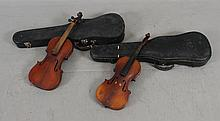 (2) VIOLIN BODIES WITH HARD CASES, 22 1/2