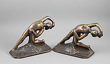PAIR COPPER FINISH BOOKENDS, NUDE DANCER, 4