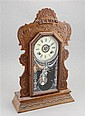 MAHOGANY HALF PILASTER CLOCK I5TH REPLACED FACE AND ORIGINAL TABLE,
