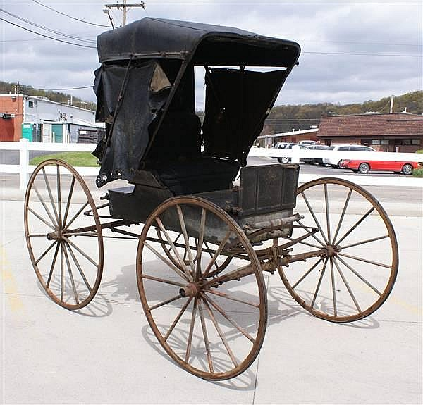 BUCKBOARD TYPE BUGGY WITH WOODEN WHEELS AND TOP