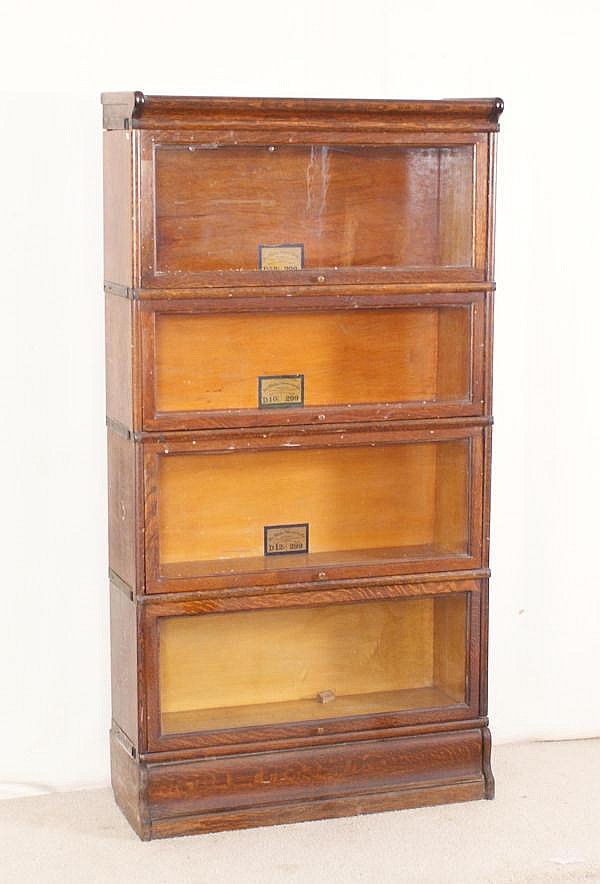 Oak Globe Wernicke 4 Section Barrister Bookcase With Metal B
