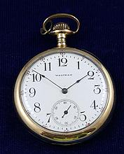 WALTHAM 14K YELLOW GOLD OPEN FACE SWING OUT 16894392 POCKET WATCH, 45 MM DIAMETER
