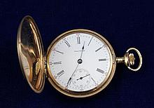 WALTHAM 14K YELLOW GOLD HUNTER CASE #16881059 POCKET WATCH IN CARTIER BOX, 50 MM DIAMETER
