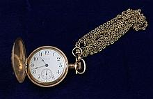 ELGIN GOLD TONE HUNTER CASE #18040561 POCKET WATCH WITH CHAIN, 35 MM DIAMETER