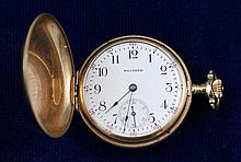WALTHAM 14K YELLOW GOLD HUNTER CASE 15 JEWELS #18545257 POCKET WATCH, 32 MM DIAMETER