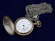 WALTHAM P S BARTLETT STERLING SILVER HUNTER CASE #12764693 POCKET WATCH WITH SILVERTONE SLIDE WATCH CHAIN, 35 MM DIAMETER