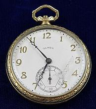 ILLINOIS CENTRAL 14K YELLOW GOLD FILLED OPEN FACE 21 JEWELS #5374768 POCKET WATCH, 44 MM DIAMETER, MISSING STEMS ~