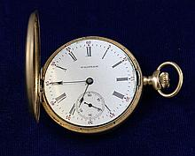WALTHAM 14K YELLOW GOLD HUNTER CASE #10218657 POCKET WATCH, 48 MM DIAMETER