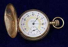14K TRI-TONE AMERICAN WALTHAM HUNTER CASE 6137111 POCKET WATCH, 40 MM