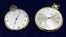 TWO LONGINES AND SHEFFIELD GOLD TONE OPEN FACE POCKET WATCHS, 38-43 MM DIAMETERS