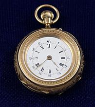 14K YELLOW GOLD AND BLACK ENAMELED DESIGN CYLINDRE 10 RUBIES REMONTOIR  OPEN FACE POCKET WATCH, 34 MM DIAMETER
